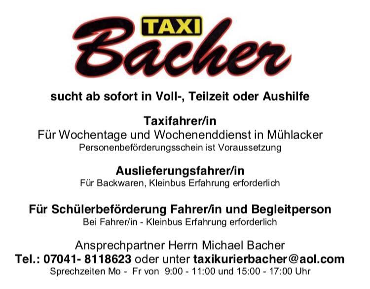 Suchen Voll und Teilzeitkräfte Taxi Bacher